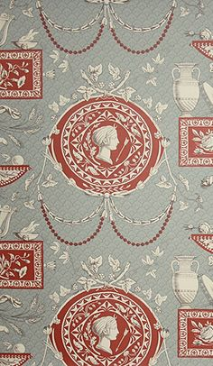 Roman Toile wallpaper in terracotta and beige on a blue grey background