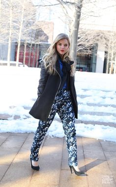 Blogger we love, @Kristin Clark | Living In Color Print, sporting a NYFW top trend | Patterned Pants