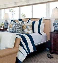 Love the bedding for the nautical room.. Hate the throw pillows and lamps. Delorme Designs: Barclay Butera Nautical Bedroom