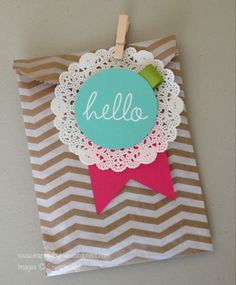Chevron gift bag looks great with stamps, ink and paper.  Stampin' Up!