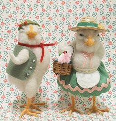 . easter, needlefelt inspir, felt creation, felt chicken, craftneedl felt, felt craft, crystal, felt bird