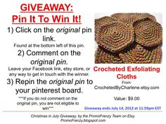 GIVEAWAY - Pin It To Win It: To Win This Item from CrochetedByCharlene.etsy.com - follow the instructions: Click on ORIGINAL pin, comment leaving a way to contact you, REPIN the ORIGINAL Pin! Contest ends 7/14/12 @ 11:59pm EST. Winner announced 7/15/12.