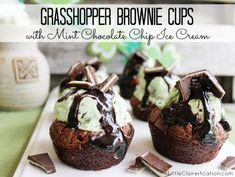 Grasshopper Brownie Cups - Mint Chocolate Goodness at ALittleClaireification.com #recipe #dessert #StPatricksDay