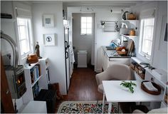 tiny house interior in all white