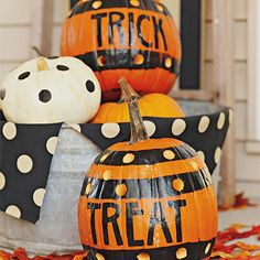 Trick or treat? You pick with this beautifully painted pumpkins: http://www.bhg.com/halloween/pumpkin-decorating/pumpkin-carving-ideas-for-kids/?socsrc=bhgpin082014frontporchmessage&page=7