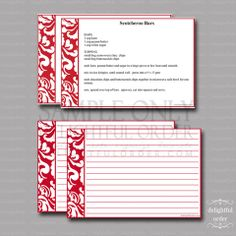 Editable Red Damask Recipe Cards