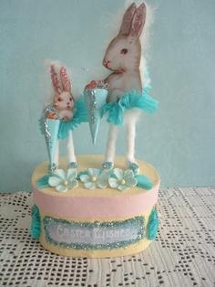 spun cotton bunnies, special Easter ornament, decoration