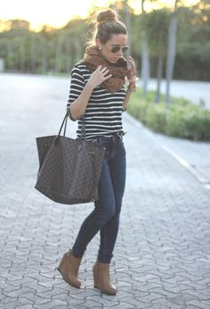 stripes, jeans and khaki scarf