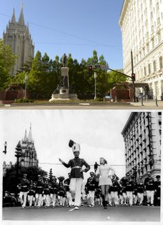 A view of Main and South Temple, looking north, is seen on May 27, 2014, and again in 1950. (Leah Hogsten  |  The Salt Lake Tribune)
