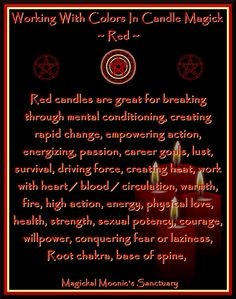 Candles:  Working with Colors in Candle Magick ~ Red.