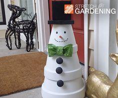christmas front doors, pot snowman, flower pots, winter craft, terracotta pots, snowman tree, the block, front porches, clay pots