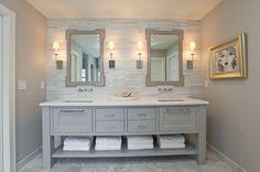 elegant modern cottage bathroom--Great focal wall idea & vanity--Master Bath