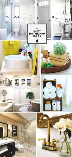 Guest Bathroom Ideas- I like the two crates stacked to hold TP and towels, and also a pretty vase of flowers.
