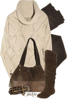 """""""Sweater, boots and leggings"""" by jackie22 on Polyvore"""