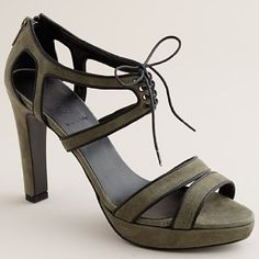 Gibson Suede Lace-Up Platform Sandals: Available in tuscan olive, andor grey and black. $275.