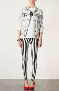 Fun! Topshop Mod Stripe Denim Leggings