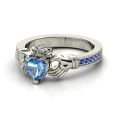 Heart Blue Topaz Sterling Silver Ring with Sapphire | Claddagh Ring | Gemvara