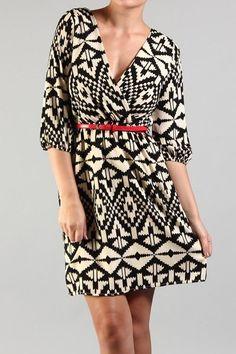 $68 - Black/white geo print dress w/ red belt