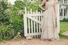 Gorgeous wedding dress customised by the bride using two dresses that she made into her own. Eco-Chic Texas Wedding: Clara + Matt