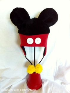 Mickey Mouse inspired Fleece Ear Flap Beanie Hat. $25.00, via Etsy.