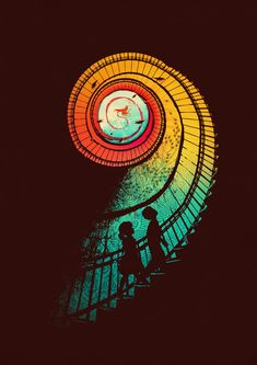 the journey, art illustrations, stairway, satria kwan, graphic prints