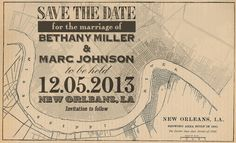 New Orleans wedding! Vintage New Orleans map Save the Date postcard by NOLAGoods, $2.00