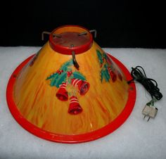 Vintage Christmas Tree Stand ~ Lighted w/ Bells & Holly