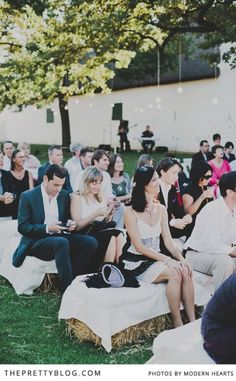 Seating for an outdoor wedding   Keep it Green   Photographers: Modern Hearts  