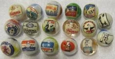 "Hamms Beer Glass Marbles 5/8"" Size 