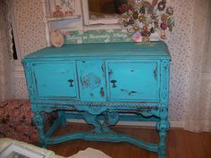 turquoise painted buffet, old