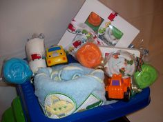 """Truck load"" of gifts good baby boy shower gift idea."