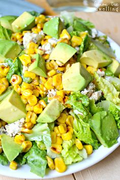 Grilled Corn Salad with avocado, blue cheese, and chili lime vinaigrette