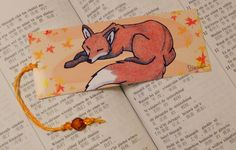 Bookmark sleeping cute red fox - woodland illustration - forest animal artwork - furry drawing. €1.85, via Etsy. fox bookmark, animals, red fox drawing, artworks, color, anim artwork, bookmark sleep, foxes, animal artwork