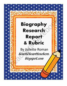 Biography Research Project and Rubric from HearttoHeartTeaching on TeachersNotebook.com -  (5 pages)  - This could be used as a stand alone Biography Research Project or as a book report.