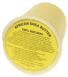 100% African Shea Butter.  Used as a butter or whipped into a cream- this is one kick butt moisturizer. Unlike petroleum products (which are not a renewable resource) the oil is absorbed into your skin and doesn't leave a greasy residue. I love this stuff.