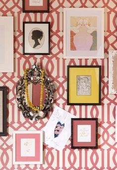 pink trellis print wallpaper