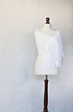 READY to SHIP Wedding shawl knit shawl white by KnitwearFactory, $120.00