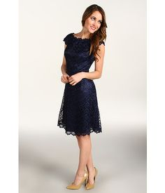 Laundry by Shelli Segal Cap Sleeve Lace Dress