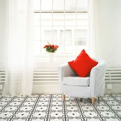 Quickly and easily create a vintage tin ceiling inspired, ceiling, floor or wall in your home with this Traditional Tin Tile Wall and Floor Painting Stencil!