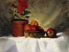 Geraniums and Apples by Christine Hooker Oil ~ 9 x 12