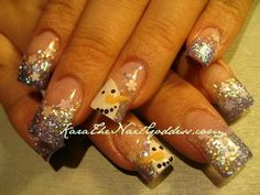 Sparkly snowman nail art design for winter or Christmas