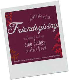 A Friendsgiving Party invitation #partycrafters #friendsgiving #thanksgiving parti invit, friendsgiv parti
