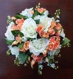 Peach / Coral  Wedding / Bridal Bouquet by silvasalazar on Etsy