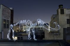 Darren Pearson (Darius twin) Mythical Mammoth drawing with mini flashlight and long exposure time on camera