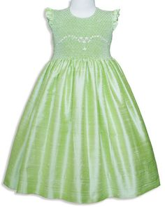 Pageant green silk smocked baby dress  hand by CarouselWear, $82.97