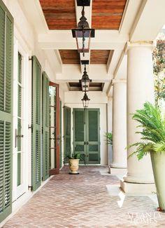 green shutters + lanterns