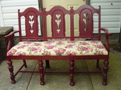3 old chairs make a great bench!!
