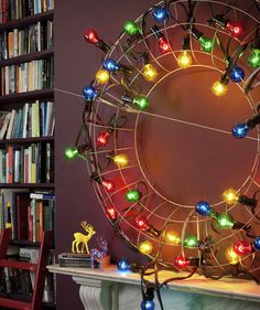 Lights Up | 10 DIY Holiday and Christmas Decorations | Real Simple. Sometimes you need to put things in bright and brilliant light to create the right amount of excitement. Start with a wire wreath frame and weave through strands of oversized bulbs for a cool holiday vibe.