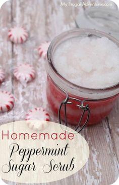 Homemade Peppermint Sugar Scrub Recipe- cool christmas gift diy idea