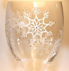 SNOWFLAKE Painted Wine Glass, Snow Flurry